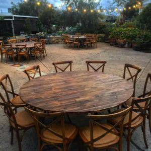 rustic wooden round table